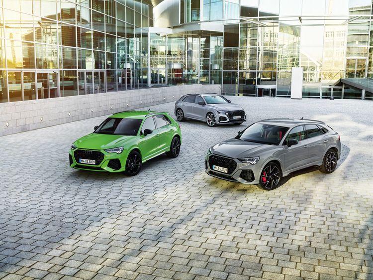 RS Q3 Kyalami green en RS Q8 Florett Silver en RS Q3 Sportback Nardo gray