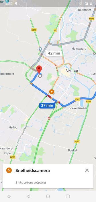 Google Maps met flitsmelding