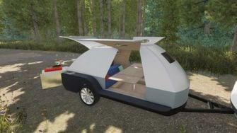 Teardrop, camper, caravan, elektrische auto, powerbank